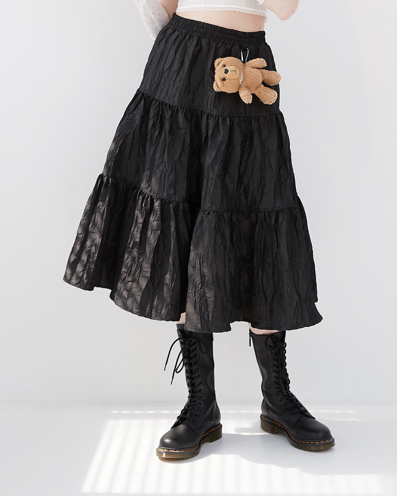 Tiered Kangkang Skirt[Black]