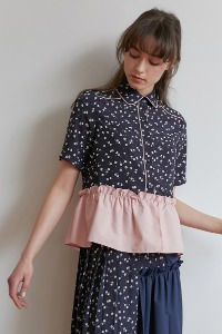 Frill blouse[Navy/Pink]