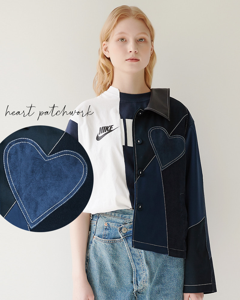 Heart Patchwork Jacket[Navy]