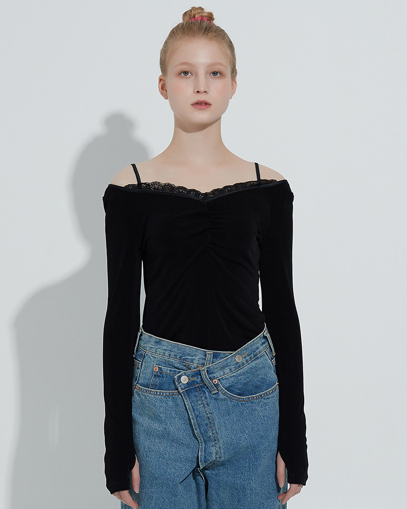 Thumbhole Lace Top[Black]