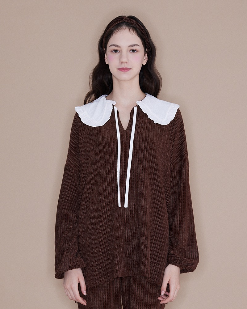Frill Collar Blouse[Brown]